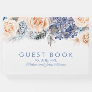 Mariage élégant floral de bleu et de pêche livre d'or