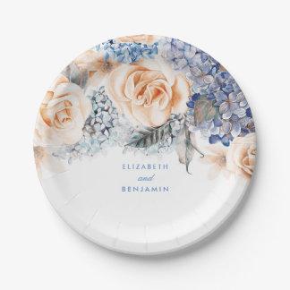 Mariage élégant floral poussiéreux de bleu et de assiettes en papier