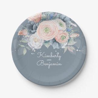 Mariage élégant floral rose et bleu-clair assiettes en papier