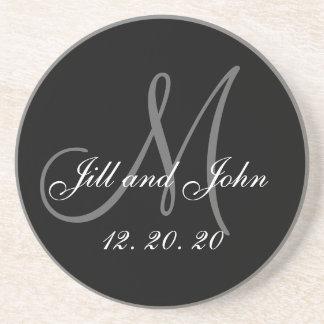Mariage élégant gris noir de monogramme dessous de verre