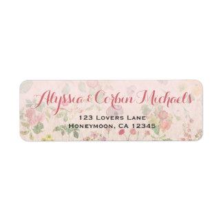 Mariage élégant romantique rose floral vintage étiquette d'adresse retour