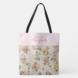 Mariage élégant vert rose floral romantique sac