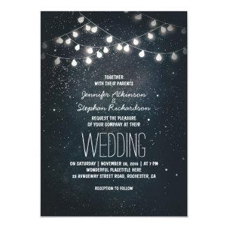 Mariage élégant vintage de lumières et d'étoiles carton d'invitation  12,7 cm x 17,78 cm