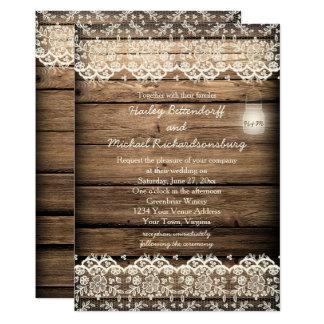 Mariage en bois de pot de maçon de dentelle de carton d'invitation  12,7 cm x 17,78 cm