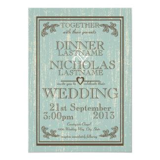 Mariage en bois de signe carton d'invitation  12,7 cm x 17,78 cm