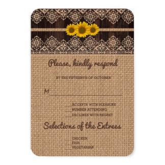 Mariage en bois de toile de jute rustique de carton d'invitation 8,89 cm x 12,70 cm