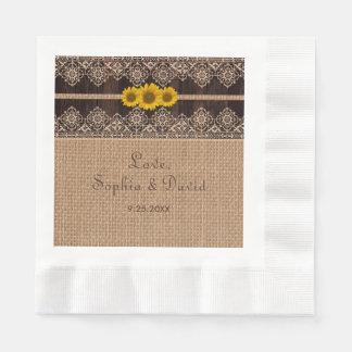 Mariage en bois de toile de jute rustique de serviette en papier