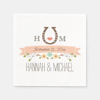 Mariage en fer à cheval de corail décoré d'un serviettes en papier