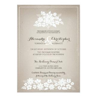 Mariage en ivoire vintage d'arrière - plan de carton d'invitation  12,7 cm x 17,78 cm