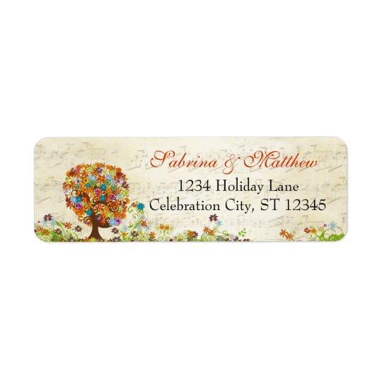 Mariage enchanté de branche latérale de forêt étiquette d'adresse retour