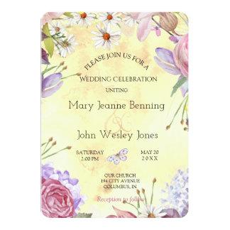 Mariage ensoleillé floral romantique carton d'invitation  12,7 cm x 17,78 cm