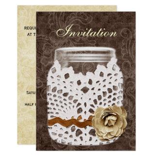 Mariage enveloppé par dentelle rustique de pot de carton d'invitation  12,7 cm x 17,78 cm