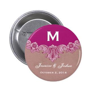 Mariage fait sur commande vintage magenta rose de  badges