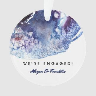 Mariage/fiançailles modernes d'aquarelle de bleu