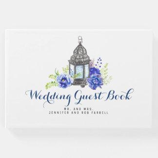 Mariage floral bleu de lanterne livre d'or
