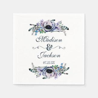Mariage floral chic de monogramme de menthe et de serviette en papier