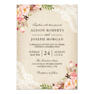 Mariage floral chic de toile de jute de dentelle carton d'invitation  12,7 cm x 17,78 cm