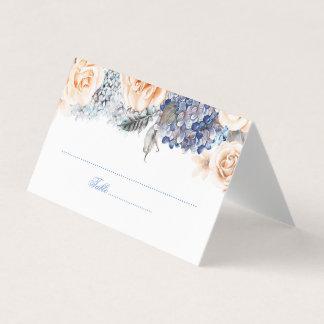 Mariage floral d'aquarelle de bleu et de pêche carte de placement
