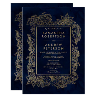 Mariage floral d'aquarelle de bleu marine d'or carton d'invitation  12,7 cm x 17,78 cm