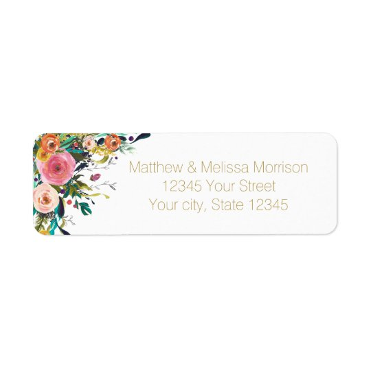 Mariage floral d'aquarelle de jardin romantique étiquette d'adresse retour