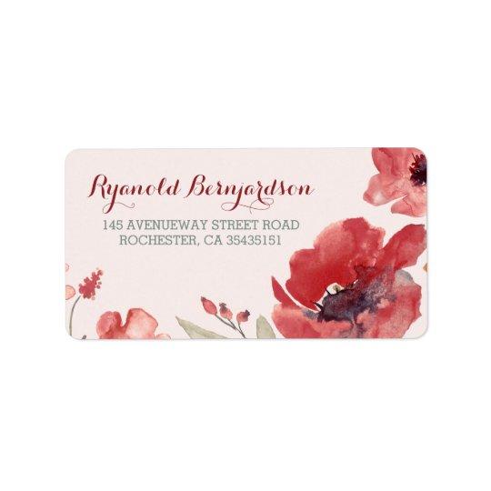 Mariage floral d'aquarelle étiquette d'adresse