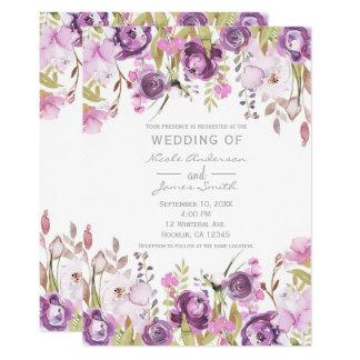 Mariage floral d'aquarelle lilas pourpre de carton d'invitation  12,7 cm x 17,78 cm