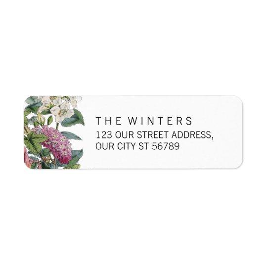 Mariage floral d'art d'aquarelle vintage étiquette d'adresse retour