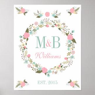 Mariage floral de boho d'impression d'affiche de affiche