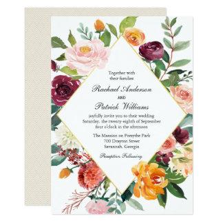 Mariage floral de cadre de diamant de chute carton d'invitation  12,7 cm x 17,78 cm