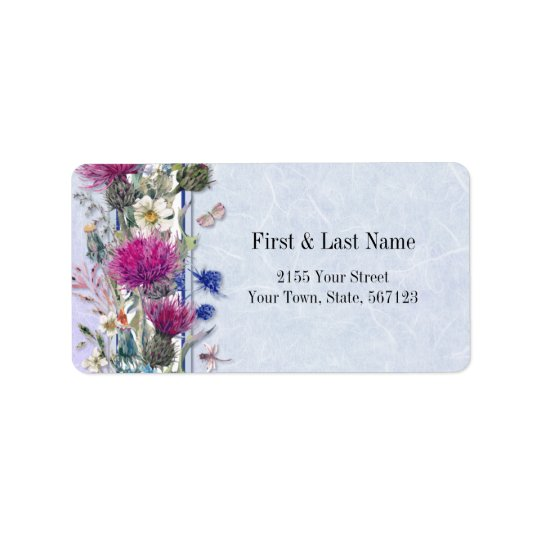 Mariage floral de chardon écossais étiquette d'adresse