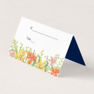 Mariage floral de Daylilies d'été Carte De Placement