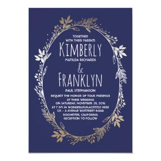 Mariage floral de guirlande de marine et d'or carton d'invitation  12,7 cm x 17,78 cm