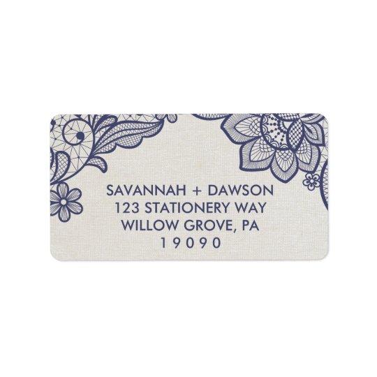 Mariage floral de la dentelle | de toile de jute étiquettes d'adresse