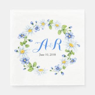 Mariage floral de marguerite blanche bleue de serviettes jetables