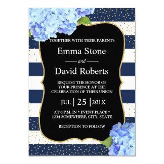 Mariage floral de marine d'hortensia bleu nautique carton d'invitation  11,43 cm x 15,87 cm
