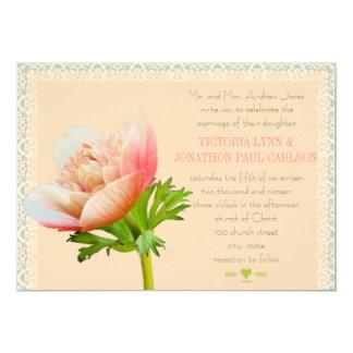 Mariage floral de pivoine de corail et de dentelle carton d'invitation  12,7 cm x 17,78 cm