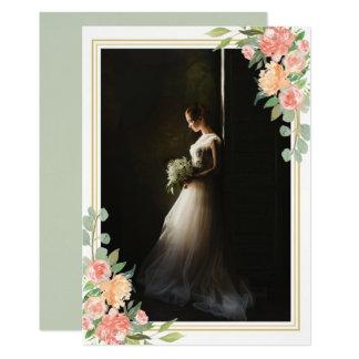 Mariage floral de souvenir de photo de portrait carton d'invitation  12,7 cm x 17,78 cm