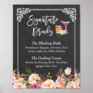 Mariage floral de tableau de cocktail de boissons