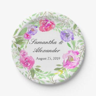 Mariage floral de vert de rose de pivoine assiettes en papier
