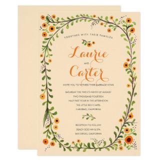 Mariage floral de vigne fleurissante jaune d'été carton d'invitation  12,7 cm x 17,78 cm
