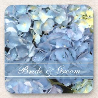 Mariage floral d'hortensia bleu sous-bocks