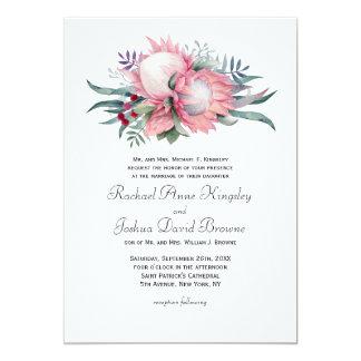 Mariage floral d'imaginaire de Protea Carton D'invitation 12,7 Cm X 17,78 Cm