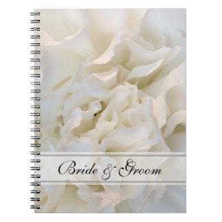Mariage floral d'oeillet blanc carnet à spirale
