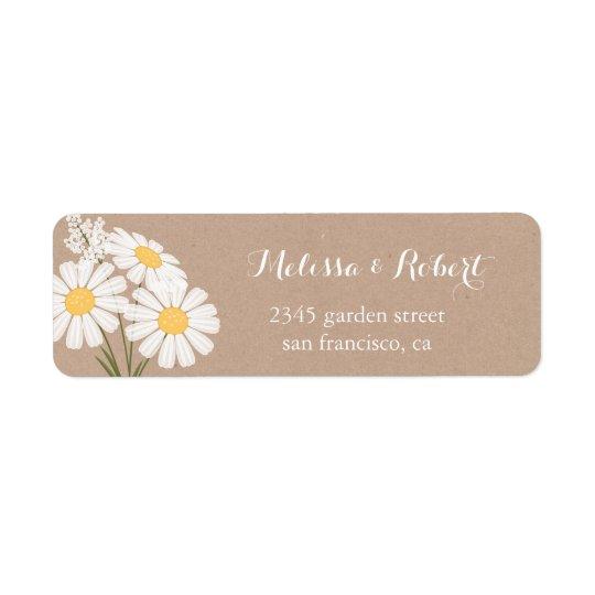 Mariage floral élégant de bouquet de marguerites étiquettes d'adresse retour