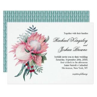 Mariage floral exotique d'imaginaire de Protea Carton D'invitation 12,7 Cm X 17,78 Cm