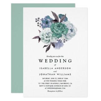Mariage floral romantique chic de ressort carton d'invitation  12,7 cm x 17,78 cm
