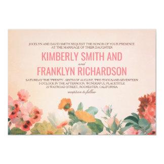 Mariage floral romantique vintage de jardin de carton d'invitation  12,7 cm x 17,78 cm