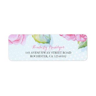 Mariage floral rose d'aquarelle étiquette d'adresse retour