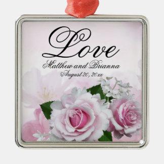 Mariage floral rose personnalisé élégant d'amour ornement carré argenté