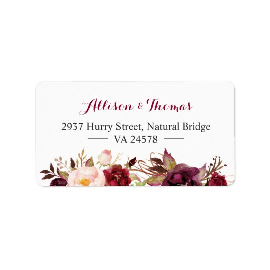 Mariage floral rouge chic rustique de Bourgogne Étiquette D'adresse